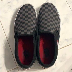 Black and grey checkerboard slip on vans!